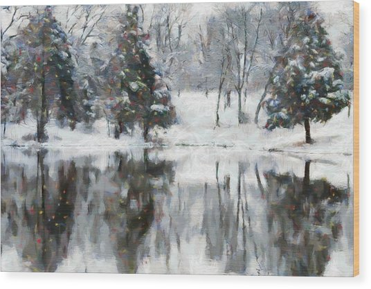 Christmas At The Pond Wood Print