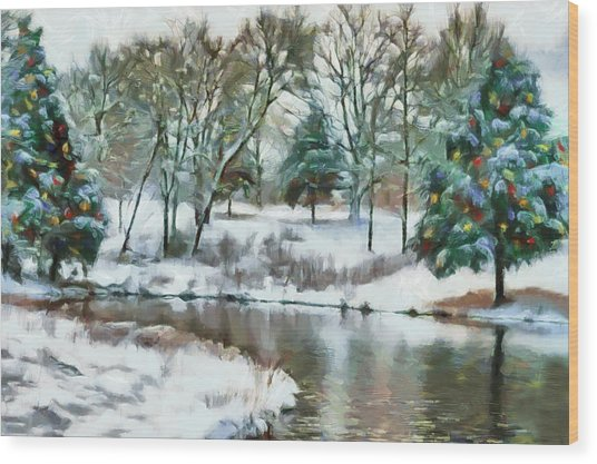 Christmas At The Pond Too Wood Print