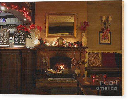 Christmas At The Pub Wood Print