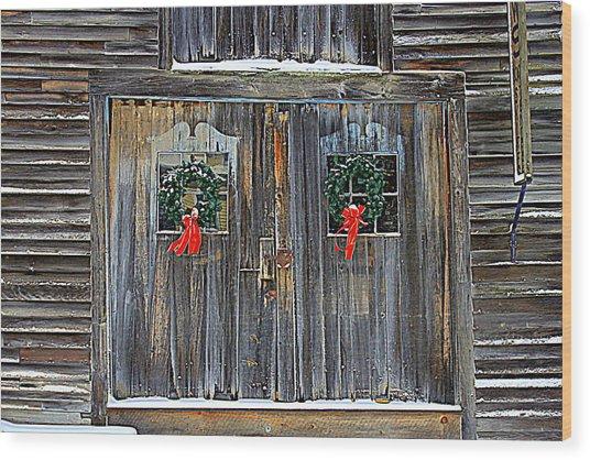 Christmas Barn Doors Wood Print