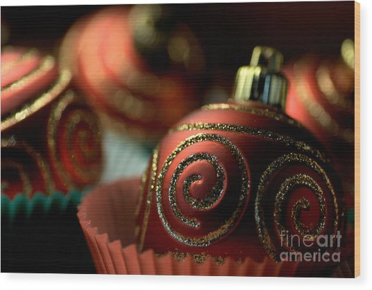 Christmas Bauble Cupcakes Wood Print