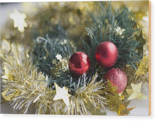 Wood Print featuring the photograph Christmas Baubles by Jocelyn Friis