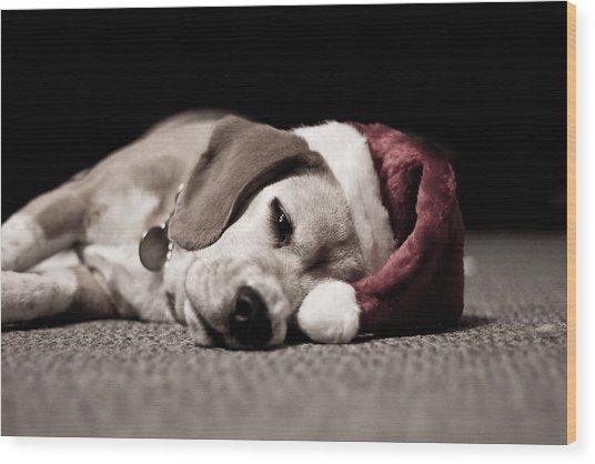 christmas beagle wood print by paulina szajek - Christmas Beagle