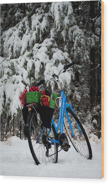 Christmas Bike Wood Print