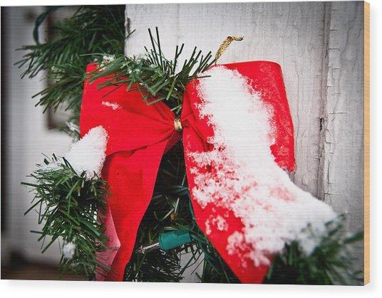 Christmas Bow  Wood Print by Nickaleen Neff