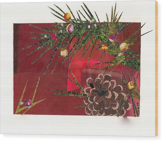 Christmas Branches Wood Print