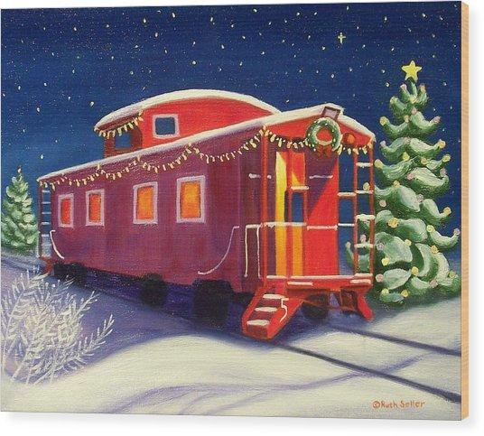Christmas Caboose Wood Print