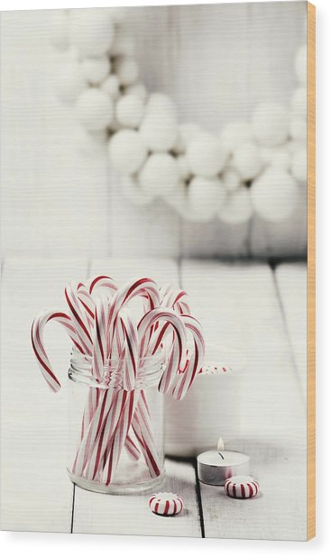 Christmas Candy Wood Print by Claudia Totir