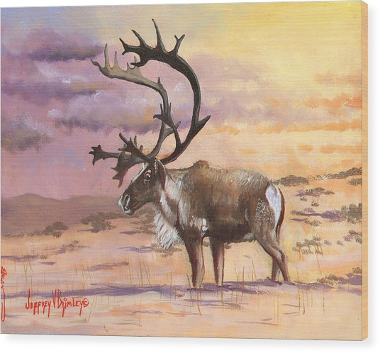 Christmas Caribou Wood Print