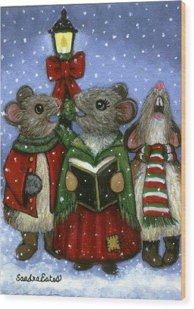 Christmas Caroler Mice Wood Print