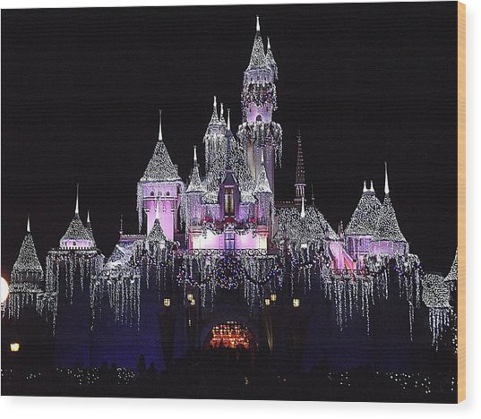 Christmas Castle Night Wood Print