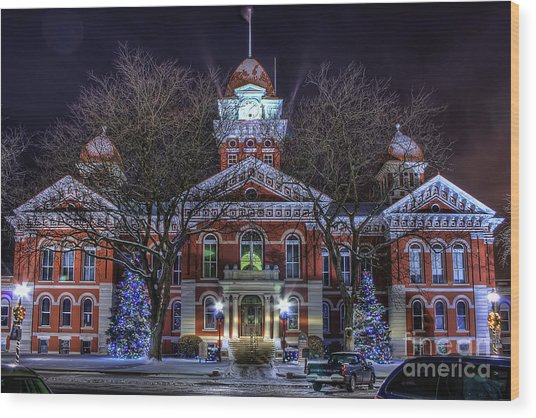 Christmas Courthouse Wood Print