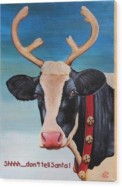 Christmas Cow Wood Print