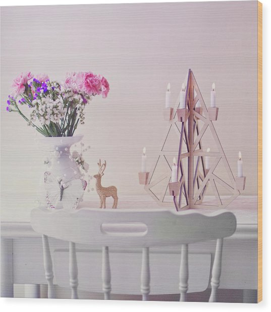 Christmas Decorated Table Wood Print by Julia Davila-lampe