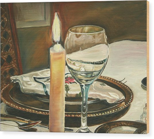 Christmas Dinner With Place Setting Wood Print by Jennifer Lycke