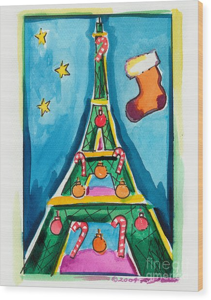Christmas Eiffel Tower Painting Wood Print