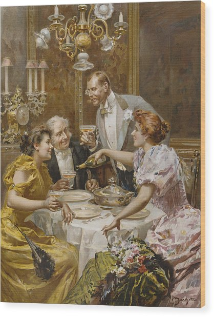 Christmas Eve Dinner In The Private Dining Room Of A Great Restaurant Wood Print