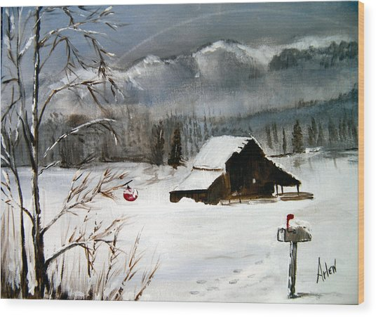 Christmas Farm House Wood Print