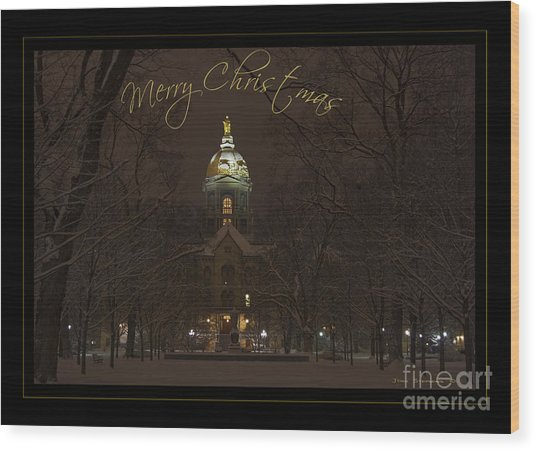 Christmas Greeting Card Notre Dame Golden Dome In Night Sky And Snow Wood Print