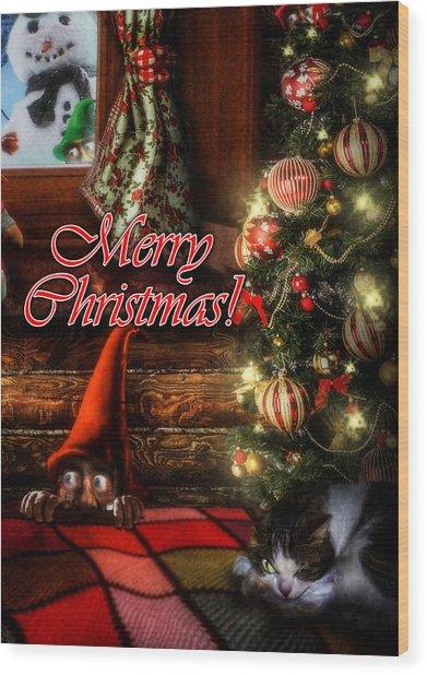 Christmas Greeting Card Viii Wood Print