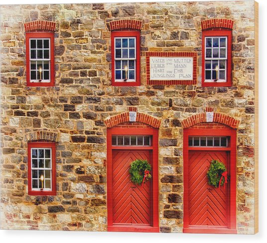 Christmas In Bethlehem Pa Wood Print