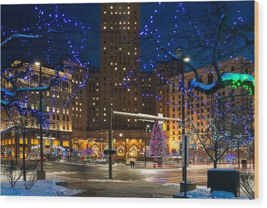 Christmas In Downtown Cleveland Wood Print