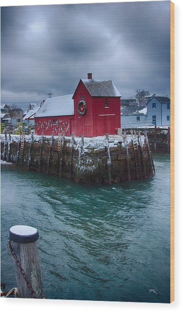Christmas In Rockport Massachusetts Wood Print