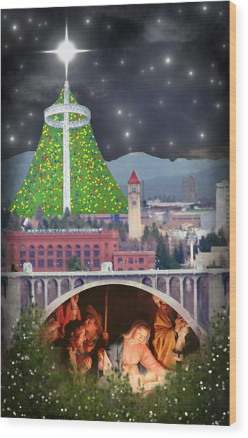Christmas In Spokane Wood Print
