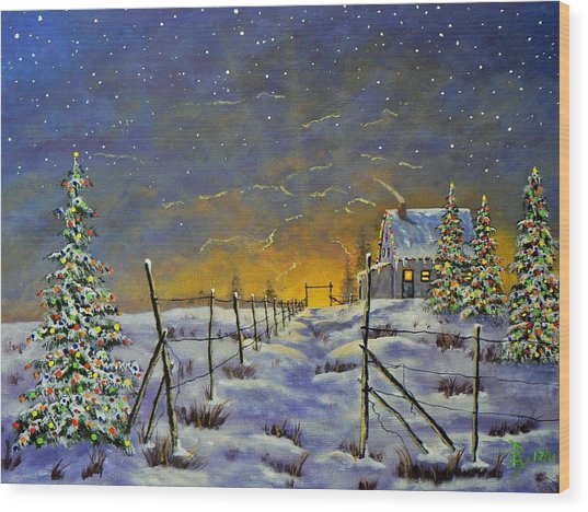 Christmas In The Country Wood Print