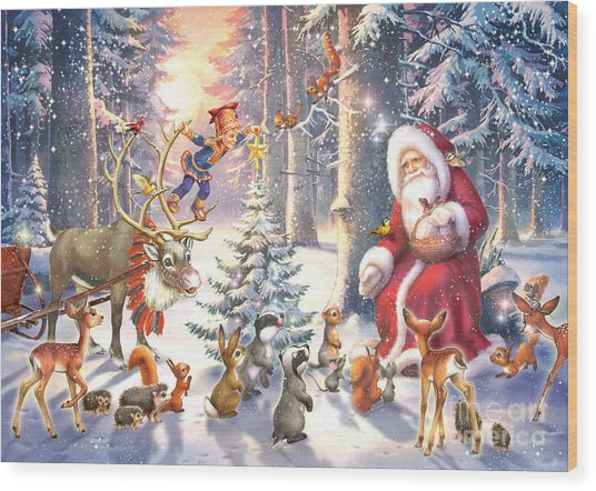 Christmas In The Forest Wood Print