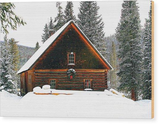 Christmas In The Rockies Wood Print