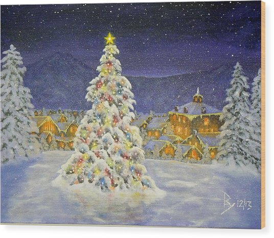 Christmas In The Valley Wood Print