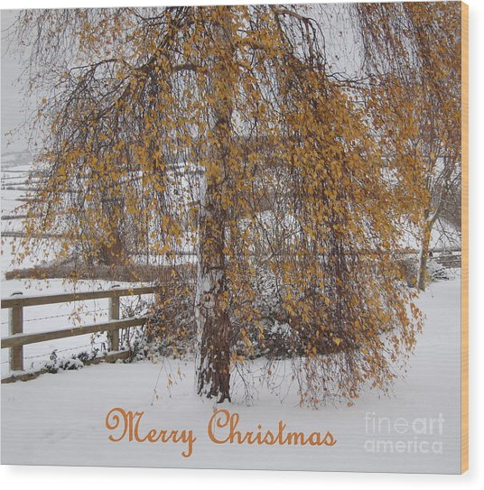 Christmas Is Orange Wood Print