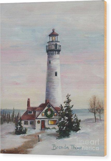 Christmas Light Wood Print by Brenda Thour