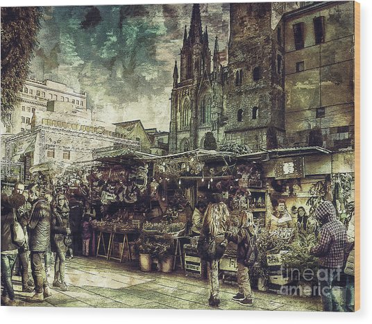Christmas Market - A Dickensian Look Wood Print