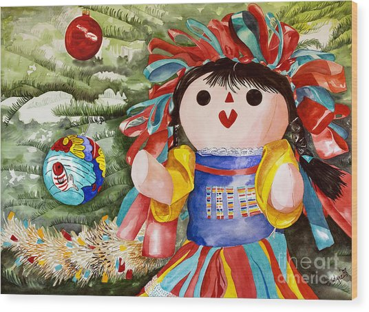 Christmas Muneca Wood Print