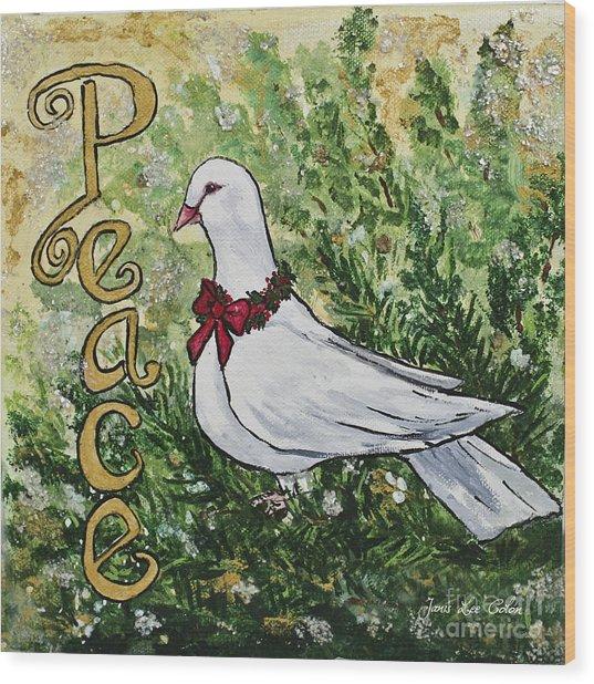 Christmas Peace Dove Wood Print
