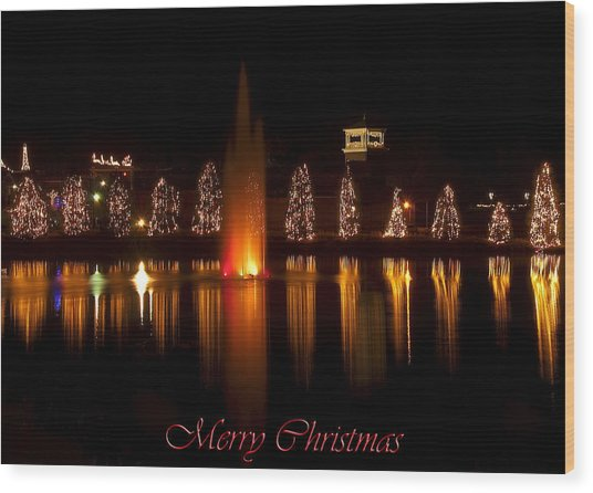 Christmas Reflection - Christmas Card Wood Print