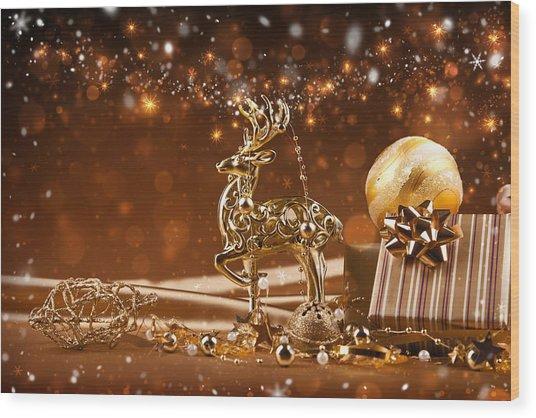 Christmas Reindeer In Gold Wood Print