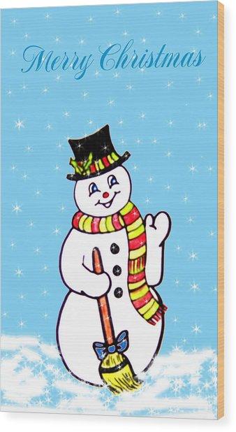 Christmas Snowman Wood Print