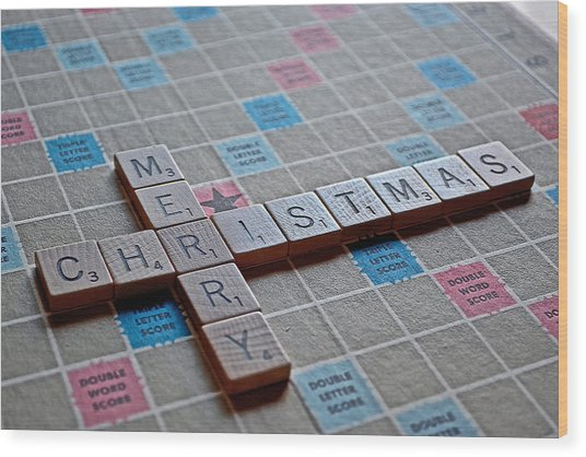Christmas Spelled Out Wood Print