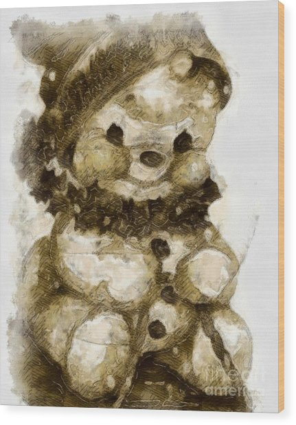 Christmas Teddy Bear Wood Print