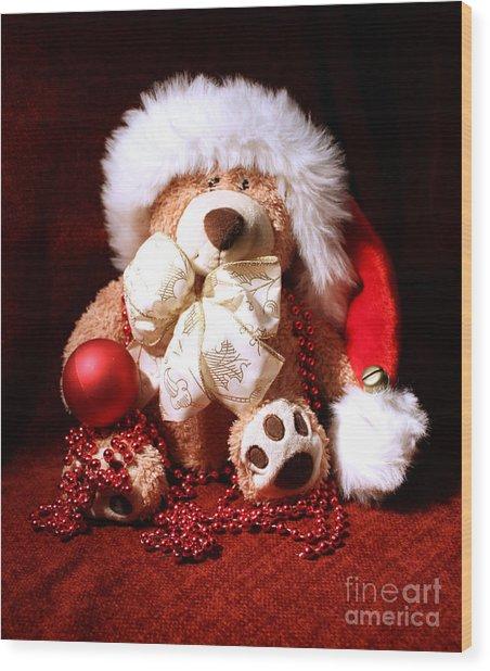 Christmas Teddy Wood Print