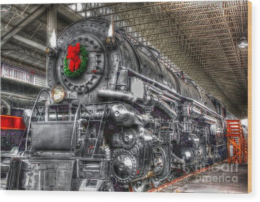 Christmas Train-the Holiday Station Wood Print