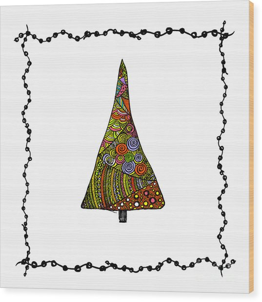 Christmas Tree From Patterns.vector Wood Print