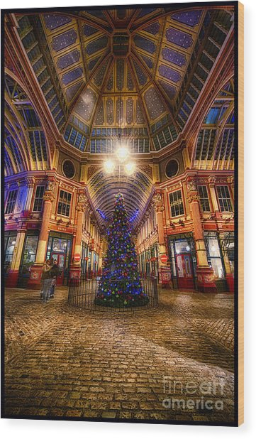 Christmas Tree Leadenhall London I Wood Print