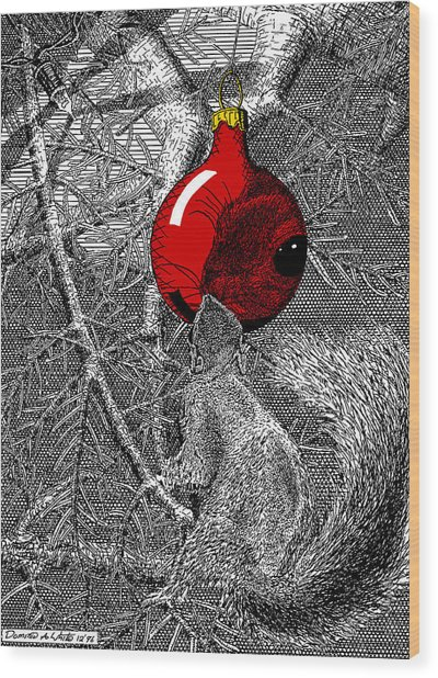 Christmas Tree Squirrel With Red Ornament Wood Print