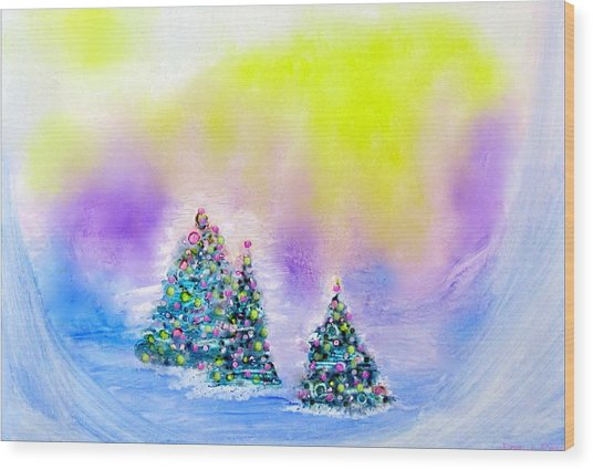 Christmas Trees In The  Valley - Alcohol Inks In Pastel Wood Print