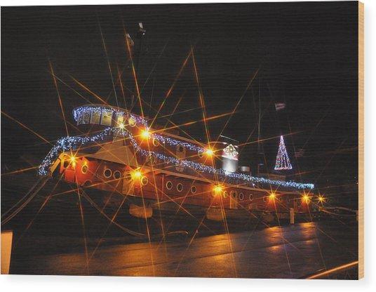Christmas Tug Boat Wood Print