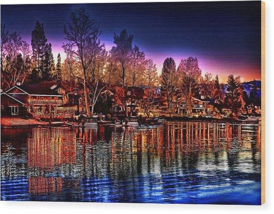Christmas Twilight Wood Print by Cary Shapiro
